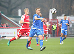 01.12.2018, Stadion an der Wuhlheide, Berlin, GER, 2.FBL, 1.FC UNION BERLIN  VS.SV Darmstadt 98, <br /> DFL  regulations prohibit any use of photographs as image sequences and/or quasi-video<br /> im Bild Felix Kroos (1.FC Union Berlin #23), Marcel Franke (Darmstadt #28)<br /> <br /> <br />      <br /> Foto &copy; nordphoto / Engler