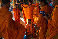 December 04, 2013 - Kampong Thom, Cambodia. Monks and activists in a pagoda during a 10 day Human Rights march through the country. © Nicolas Axelrod / Ruom