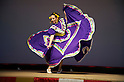 "Minamisanriku, Miyagi, Japan - A Mexican woman with traditional dress dances for Japanese refugees at Sports Koryu Mura in Minamisanriku, one year after the tsunami. The Latin group of volunteers ""Todos con Japon"" visits Miyagi area during this Golden Week."