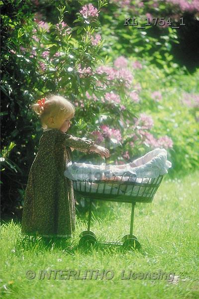 Interlitho, CHILDREN, photos, girl, doll's pram(KL1754/1,#K#) Kinder, niños