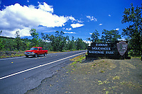 A sign welcomes visitors to Hawaii Volcanoes National Park on the Big Isle.