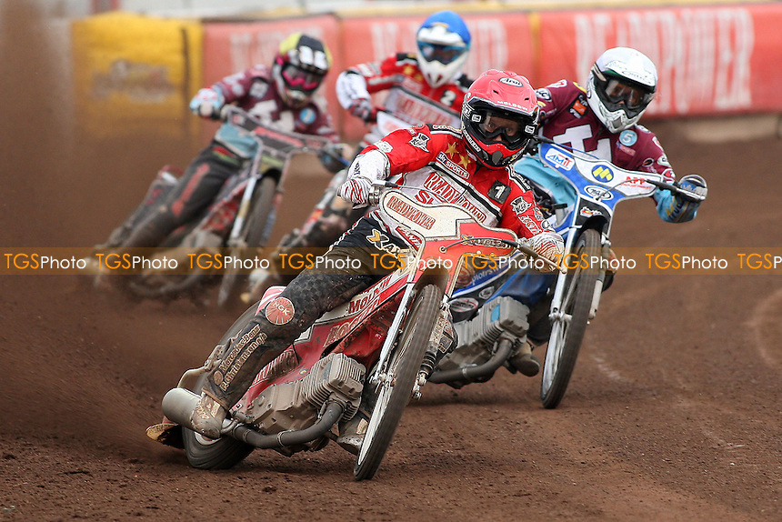 Heat 6: Nicki Pedersen (red), Piotr Swiderski (white), Linus Sundstrom (blue) and Rob Mear - Peterborough Panthers vs Lakeside Hammers - Elite League Speedway at the Showground, Peterborough - 18/07/11 - MANDATORY CREDIT: Gavin Ellis/TGSPHOTO - Self billing applies where appropriate - 0845 094 6026 - contact@tgsphoto.co.uk - NO UNPAID USE.