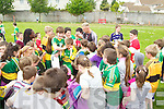Barry John Keane signing autographs at Holy Family School, Tralee after he refereed the final of the Holy Family football tournament on Friday.