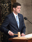 The Speaker of the United States House of Representatives Paul Ryan (Republican of Wisconsin) calls the House to order prior to the arrival of US President Donald J. Trump who will deliver his first State of the Union address to a joint session of the US Congress in the US House chamber in the US Capitol in Washington, DC on Tuesday, January 30, 2018.<br /> Credit: Ron Sachs / CNP