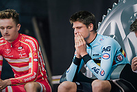 Drama for Brent Van Moer (BEL/Lotto-Soudal) as he witnesses from the hotseat how he is beaten at the very last moment by the final rider of the day (defending champion Mikkel Bjerg).<br /> <br /> MEN UNDER 23 INDIVIDUAL TIME TRIAL<br /> Hall-Wattens to Innsbruck: 27.8 km<br /> <br /> UCI 2018 Road World Championships<br /> Innsbruck - Tirol / Austria
