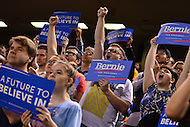Baltimore, MD - April 23, 2016: Supporters cheer and applaud as Sen. Bernie Sanders speaks during a presidential campaign rally at the Royal Farms Arena in Baltimore, MD, April 23, 2016.  (Photo by Don Baxter/Media Images International)