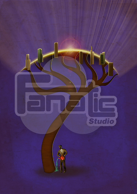 Illustrative image of businessman watering tree at night representing business growth