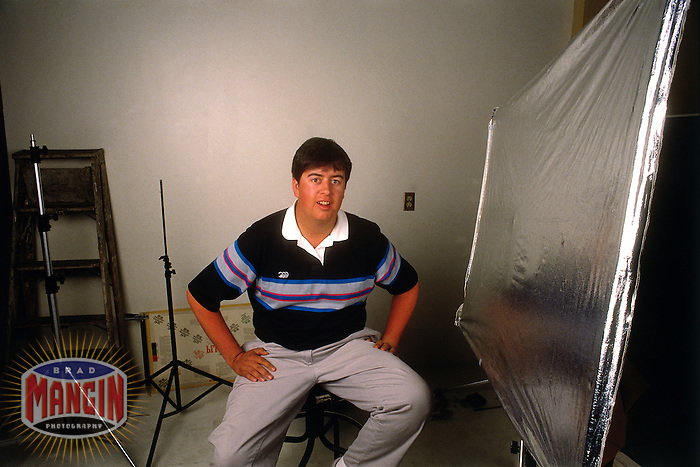 WALNUT CREEK, CA - Photographer Brad Mangin sits in the Contra Costa Times photo studio in Walnut Creek, California in 1987. (Photo by Jon McNally)