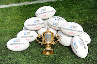 The Webb Ellis Trophy with the Gilbert match balls during the Rugby World Cup 2015 Venues and Match Schedule Launch at Twickenham Stadium on Thursday 2nd May 2013 (Photo by Rob Munro)
