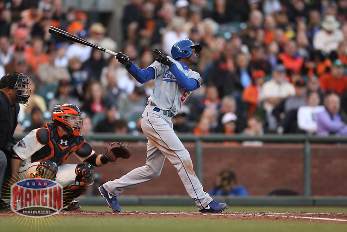 SAN FRANCISCO, CA - MAY 4:  Dee Gordon #9 of the Los Angeles Dodgers bats against the San Francisco Giants during the game at AT&T Park on Saturday, May 4, 2013 in San Francisco, California. Photo by Brad Mangin