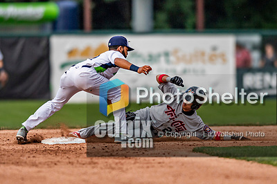 21 July 2019: Tri-City ValleyCat infielder Deury Carrasco is caught stealing second in the 5th inning against the Vermont Lake Monsters at Centennial Field in Burlington, Vermont. The Lake Monsters rallied to defeat the ValleyCats 6-3 in NY Penn League play. Mandatory Credit: Ed Wolfstein Photo *** RAW (NEF) Image File Available ***