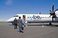 Passengers boarding their flybe flight from La Rochelle airport Charente Maritime France..©shoutpictures.com..john@shoutpictures.com