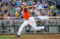 Florida Gators pitcher Kirby Snead (13) delivers a pitch to the plate against the Virginia Cavaliers in Game 13 of the NCAA College World Series on June 20, 2015 at TD Ameritrade Park in Omaha, Nebraska. The Cavaliers beat the Gators 5-4. (Andrew Woolley/Four Seam Images)