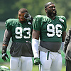Muhammad Wilkerson #96 of the New York Jets stretches during training camp at the Atlantic Health Jets Training Center in Florham Park, NJ on Friday, Aug. 4, 2017.