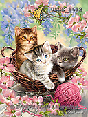 Dona Gelsinger,REALISTIC ANIMALS, LUSTIGE TIERE, ANIMALITOS DIVERTIDOS,cats,basket,flowers,butterfly, paintings+++++,USGE1612,#A#