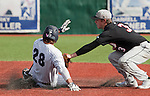 February 22, 2013: Nevada Wolf Pack runner Austin Byler is taged out by Northern Illinois Huskies infielder Brian Sisler during their NCAA baseball game played at Peccole Park on Friday afternoon in Reno, Nevada.