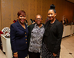 WATERBURY, CT - 19 MAY - 051918JW15.jpg --  Carolyn Highsmith, Elaine Overton and Cathy Hill pose for a photo during the National Congress of Black Women scholarship awards luncheon at La Bella Vista Saturday Afternoon.  Jonathan Wilcox Republican-American