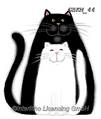 Kate, CUTE ANIMALS, LUSTIGE TIERE, ANIMALITOS DIVERTIDOS, paintings+++++Black cat, white cat,GBKM44,#ac#, EVERYDAY ,cat,cats