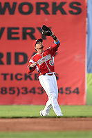 Batavia Muckdogs outfielder Victor Castro (40) catches a fly ball during a game against the Jamestown Jammers on July 25, 2014 at Dwyer Stadium in Batavia, New York.  Batavia defeated Jamestown 7-2.  (Mike Janes/Four Seam Images)