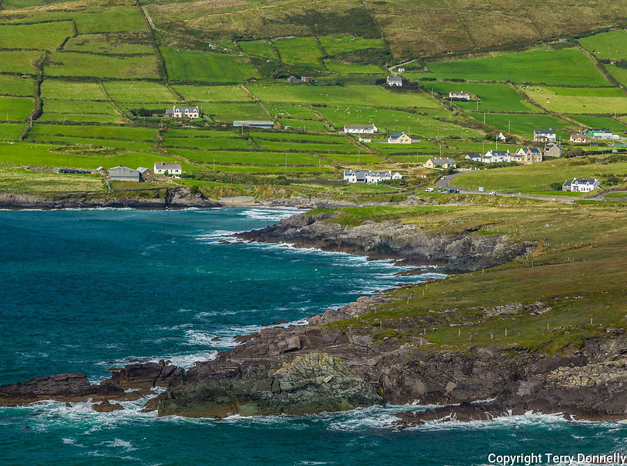 County Kerry, Ireland:<br /> A view of stone fences and fields on the coastal tip of the Iveragh Peninsula, from the Ring of Kerry