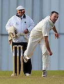 Scottish National Cricket League, Premier Division, Grange CC V Carlton CC at Raeburn Place, Edinburgh - Grange veteran bowler Stuart Davidson bowls past another veteran, umpire Sandy Scotland - Picture by Donald MacLeod - 23 May 2009