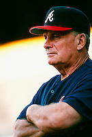 Atlanta Braves Manager Bobby Cox during a game at Dodger Stadium in Los Angeles, California during the 1997 season.(Larry Goren/Four Seam Images)