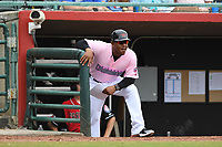 Hickory Crawdads hitting coach Joshua Johnson (1) looks on from the dugout during the game with the Charleston Riverdogs at L.P. Frans Stadium on May 12, 2019 in Hickory, North Carolina.  The Riverdogs defeated the Crawdads 13-5. (Tracy Proffitt/Four Seam Images)