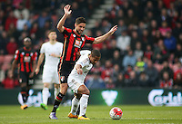 Wayne Routledge of Swansea City shields the ball from Andrew Surman of Bournemouth during the Barclays Premier League match between AFC Bournemouth and Swansea City played at The Vitality Stadium, Bournemouth on March 12th 2016
