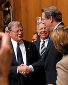Washington, D.C. - March 21, 2007 -- Former United States Vice President Al Gore shakes hands with United States Senator James Inhofe (Republican of Oklahoma) as he arrives to testify before the United States Senate Committee on Environment and Public Works on his perspective on global warming in Washington, D.C. on Wednesday, March 21, 2007..Credit: Ron Sachs / CNP.(Editor's Note: No New York or New Jersey Newspapers within a 75 mile radius of New York City)