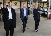 New Boston Red Sox manager Bobby Valentine, right, tours Fluor Field at the West End with Greenville Drive General Manager Mike deMaine, left, and Co-Owner/President Craig Brown on January 23, 2012, in Greenville, South Carolina. Valentine was in town to speak at the annual Greenville Drive Hot Stove Event. (Tom Priddy/Four Seam Images)