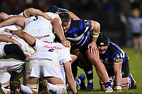 Nick Auterac of Bath Rugby looks on at a scrum. Anglo-Welsh Cup match, between Bath Rugby and Leicester Tigers on November 10, 2017 at the Recreation Ground in Bath, England. Photo by: Patrick Khachfe / Onside Images