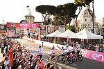 The winning Team Sky with overall victor Chris Froome (GBR) Maglia Rosa cross the finish line at the end of Stage 21 his 3rd stage of the 2018 Giro d'Italia, running 115km around the centre of Rome, Italy. 27th May 2018.<br /> Picture: LaPresse/Massimo Paolone | Cyclefile<br /> <br /> <br /> All photos usage must carry mandatory copyright credit (&copy; Cyclefile | LaPresse/Massimo Paolone)