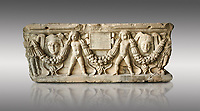 Roman relief sculpted garland sarcophagus with cherubs, 3rd century AD. Adana Archaeology Museum, Turkey. Against a grey background