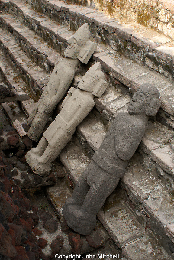Sculptures possibly representing the mythical centzonhuitznahua at the ruins of the Templo Mayor or Great Temple, Mexico City