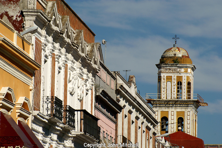 Spanish colonial architecture in the city of Puebla, Mexico. The historical center of Puebla is a UNESCO World Heritage Site.