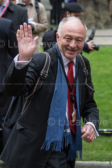 Ken Livingstone (British Labour Party politician, first elected Mayor of London from the creation of the office in 2000 until 2008; He also served as the Member of Parliament for Brent East from 1987 to 2001. A democratic socialist, Livingstone has positioned himself on the hard left of the Labour Party).<br /> <br /> London, 27/03/2014. Funeral of Tony Benn, former Labour cabinet minister, Socialist and leading left-wing and anti-war campaigner, passed away at home the 14 March 2013 aged 88. The funeral cortege started from the Houses of Parliament and ended at St Margaret's, Westminster, the parish church of the Establishment alongside the great Abbey where a peaceful crowd and the 750 mourners were waiting for the last farewell to the beloved leader.<br /> <br /> For more pictures of Tony Benn please click here: http://bit.ly/1fXlxDA