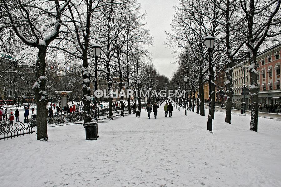 Rua com neve em Oslo. Noruega. 2008. Foto de Marcio Nel Cimatti.