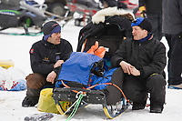 Kjetil Bcken and Paul Gebhart chat at the Nikolai checkpoint on Tuesday during Iditarod 2008