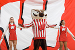 MADISON, WI - NOVEMBER 3: Mascot Bucky Badger and the Wisconsin Badgers cheerleaders perform during the game against the University of Wisconsin-Stout Blue Devils at the Kohl Center on September 3, 2006 in Madison, Wisconsin. The Badgers beat the Blue Devils 82-33. Photo by David Stluka