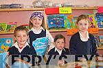 School Today.------------.First day at school are L-R Fergal Mac Cabhann,Shauna Ni? Chreimi?n,Charlotte Ni? Shu?illeabha?in agus Doireann Ni? Shiu?rda?in from Bunscoil an Chlochair An Daingean.