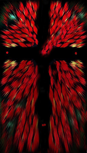 copyright Jim Mendenhall 2009. Burning bush leaf cross photo illustration. Jesus Christ. dominate red. spot green. spot yellow extrude ps filter red nail marks burning heart zoom