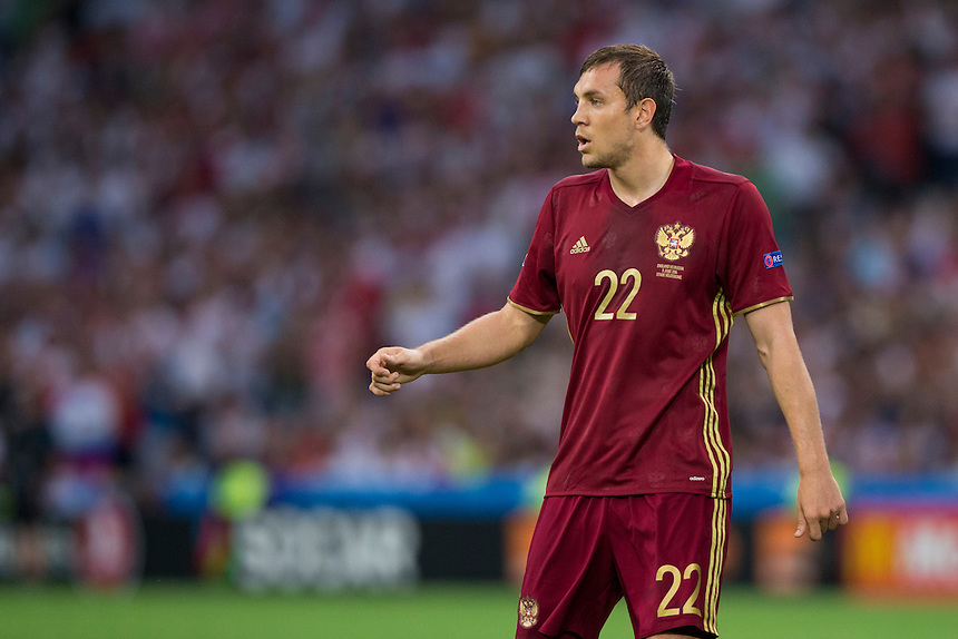 Russia's Artem Dzyuba during tonight's match<br /> <br /> Photographer Craig Mercer/CameraSport<br /> <br /> International Football - 2016 UEFA European Championship - Group B - England v Russia - Saturday 11th June 2016 - Stade Velodrome, Marseille - France <br /> <br /> World Copyright &copy; 2016 CameraSport. All rights reserved. 43 Linden Ave. Countesthorpe. Leicester. England. LE8 5PG - Tel: +44 (0) 116 277 4147 - admin@camerasport.com - www.camerasport.com