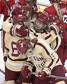 Kaliya Johnson (BC - 6), Haley Skarupa (BC - 22), Dana Trivigno (BC - 8), Emily Field (BC - 15) - The Boston College Eagles defeated the visiting Harvard University Crimson 3-1 in their NCAA quarterfinal matchup on Saturday, March 16, 2013, at Kelley Rink in Conte Forum in Chestnut Hill, Massachusetts.