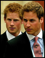 Prince William and Prince Harry attend the HRH The Prince of Wales And his wife Duchess of Cornwall at Windsor Guildhall, Saturday 9th April 2005. Photo By Andrew Parsons/ Press Association