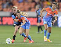 Kealia Ohai (7) of the Houston Dash battles for the ball with Alyssa Mautz (4) of the Chicago Red Stars in the first half on Saturday, April 16, 2016 at BBVA Compass Stadium in Houston Texas.