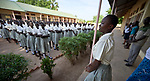 Morning assembly at the Loreto Girls Secondary School in Rumbek, South Sudan. The school, run by the Institute for the Blessed Virgin Mary--the Loreto Sisters--of Ireland, educates young women from throughout the war-torn country.