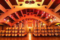 The wine cellar at Raimat in the wine district Costers del Segre in Catalonia (Spain). The vaulted building is a typical example of the early 20th century Catalonian architecture (modernista). Catalonia Catalunya Spain Europe