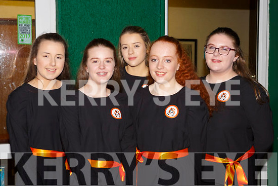 Austin Stacks ballad group at the County Scor finals in Killarney Racecourse on Saturday night l-r: Ella Smith, Ciara O'Mahony, Emma Lynch, Emily Heaslip and Amy Naughton