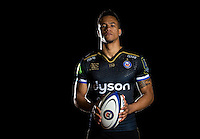 Anthony Watson poses for a portrait in the 2015/16 European kit during a Bath Rugby photocall on December 1, 2015 at Farleigh House in Bath, England. Photo by: Patrick Khachfe / Onside Images