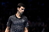 Novak Djokovic in action against Alexander Zverev in their singles Final match today<br /> <br /> Photographer Hannah Fountain/CameraSport<br /> <br /> International Tennis - Nitto ATP World Tour Finals Day 8 - O2 Arena - London - Sunday 18th November 2018<br /> <br /> World Copyright &copy; 2018 CameraSport. All rights reserved. 43 Linden Ave. Countesthorpe. Leicester. England. LE8 5PG - Tel: +44 (0) 116 277 4147 - admin@camerasport.com - www.camerasport.com